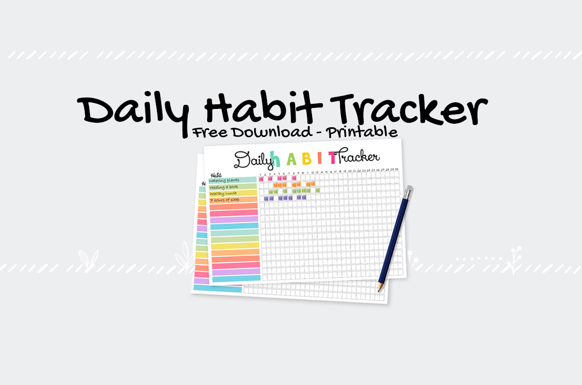 picture about Daily Habit Tracker Printable named Cost-free Colourful Print - Every day Pattern Tracker Vibrant Zone