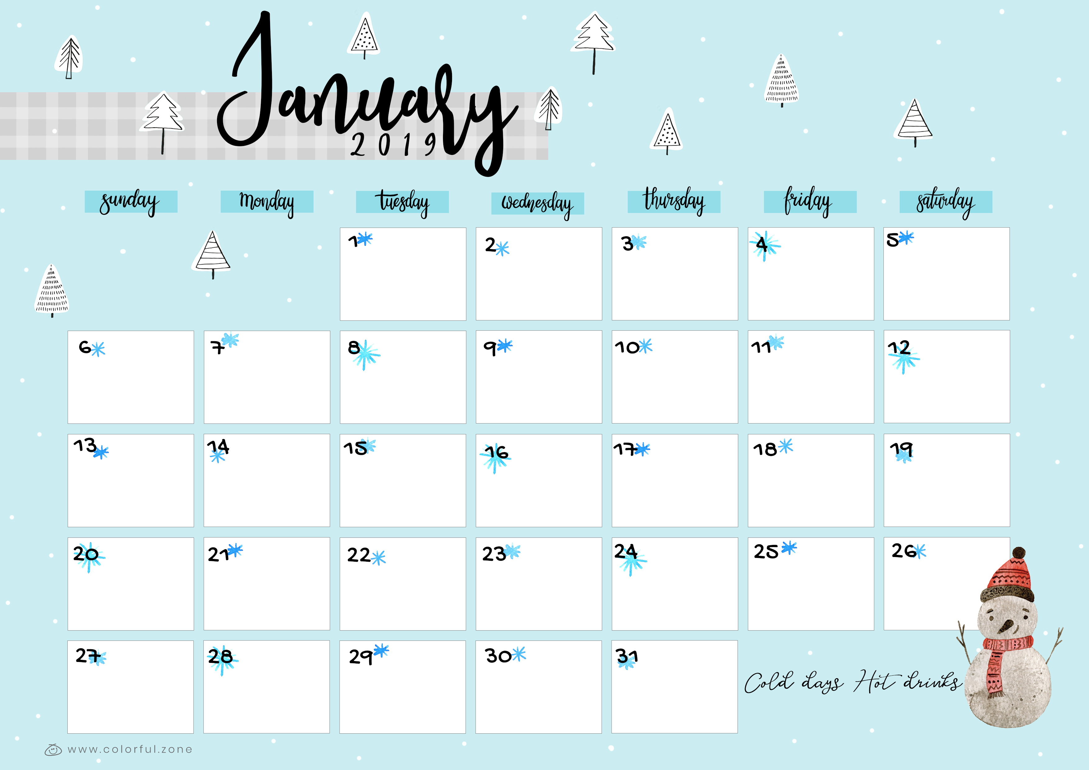 Colorful January 2019 Calendar Free Printable Colorful Calendar 2019 | Colorful Zone