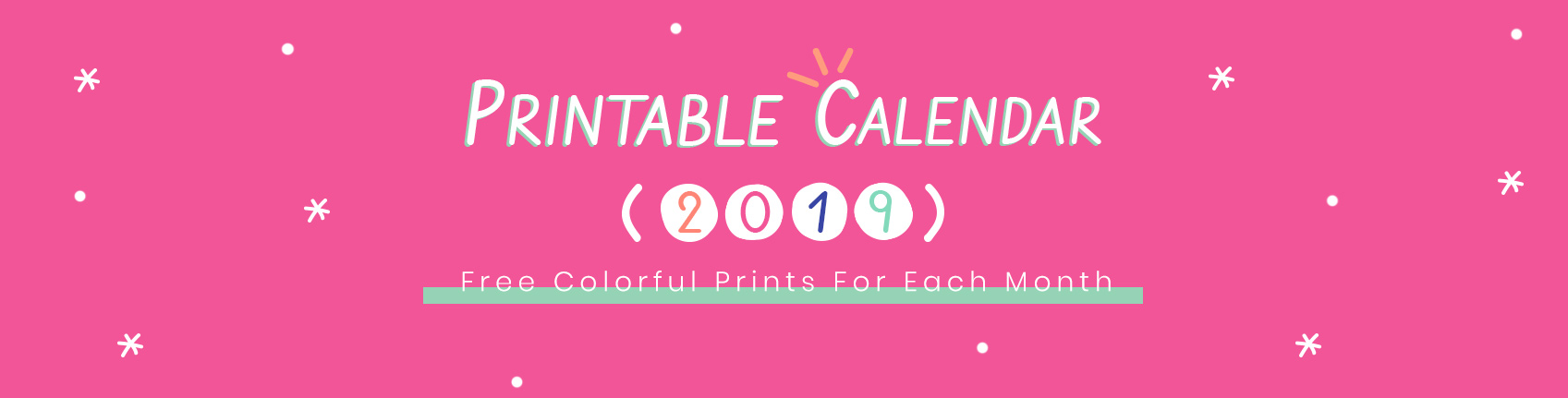 Free Printable Colorful Calendar 2019 | Colorful Zone