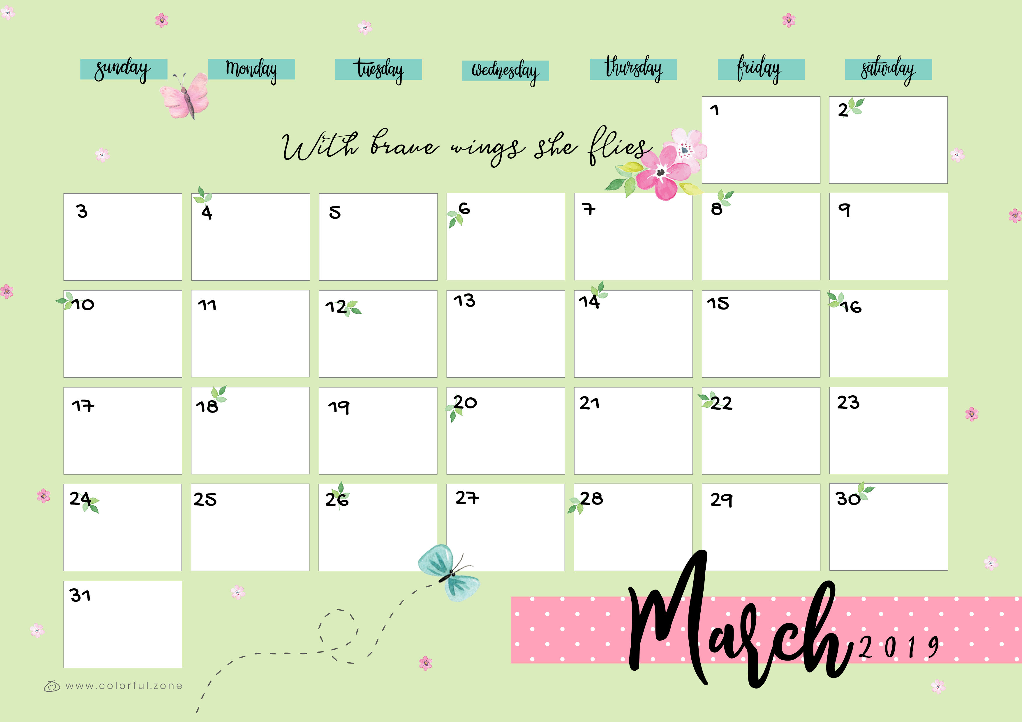 March Printable Colorful Calendar 2019